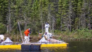 Los investigadores arrojan betún en un lago