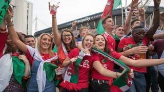 Wales fans in Cardiff fan zone