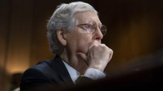 US Senate Majority Leader Mitch Republican McConnell participates in a Senate Judiciary Committee hearing on judicial and other nominations