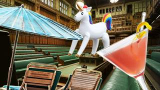 House of Commons with inflatable unicorn, sun lounger and drink