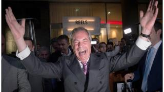 Nigel Farage celebrates the Leave vote in 2016