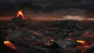 A volcanic eruption (artistic design)