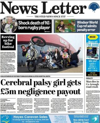 front page of the News Letter Friday 12 January 2018