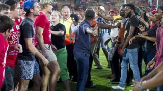 Students clashed during a protest at a rugby match in Bleomfontein