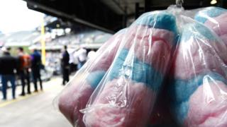 Blue and pink candy floss in bags