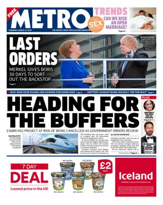 Metro front page 22/08/19