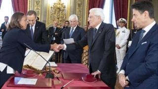 New Interior Minister Luciana Lamorgese (L) sworn in, as PM Giuseppe Conte (R) looks on, 5 Sep 19