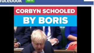 """""""Corbyn Schooled by Boris"""": A still from one of the Conservative Party's most popular recent videos"""