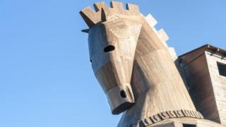 Una réplica del caballo de Troya en Turquía.