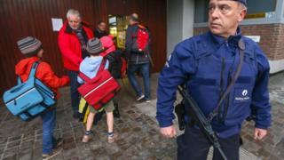 Belgian police guard outside school in Brussels
