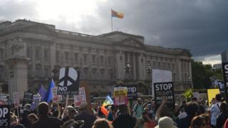 白金汉宫举行国宴之前,外面聚集了大群抗议者。
