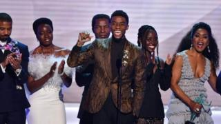 "Chadwick Boseman, Michael B. Jordan, Danai Gurira, Lupita Nyong""o and Angela Bassett accept the award for best Cast In A Motion Picture for Black Panther at the 25th Annual Screen Actors Guild Awards"