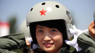 This file photo shows Chinese female J-10 fighter pilot Yu Xu.