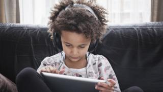 Child using a tablet