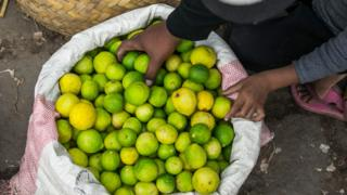 A woman selling lemon at the Ambodivona market in Antananarivo, Madagascar - Thursday 26 March 2020