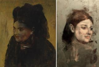Portrait of a Woman by Edgar Degas (L) and hidden image (R)