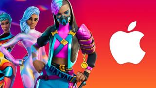 Fortnite characters next to Apple logo