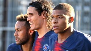 Paris St-Germain forwards Neymar (left), Edinson Cavani (centre) and Kylian Mbappe