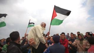 फ़लस्तीनियों का प्रदर्शन