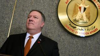 US Secretary of State Mike Pompeo in Cairo, Egypt (10 January 2019)