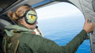 A French military plane inspects the Indian Ocean during an MH370 search mission near the French island of Reunion - 9 August 2015