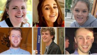 The victims: Top row from left - Ashley Donohoe, Eimear Walsh, Olivia Burke. Bottom row from left: Eoghan Culligan, Lorcan Miller, Niccolai Schuster