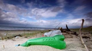 Plastic bottles washed up on a beach