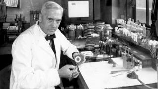 Alexander Fleming in his laboratory in 1943.