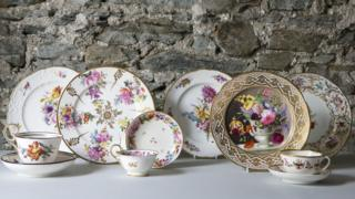 collection of porcelain plates made at Nantgarw Chinaworks