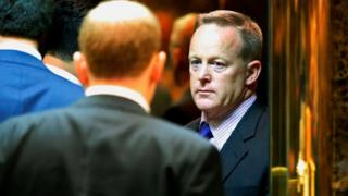 Republican National Committee (RNC) spokesman Sean Spicer arrives at Trump Tower in New York, U.S. November 16, 2016