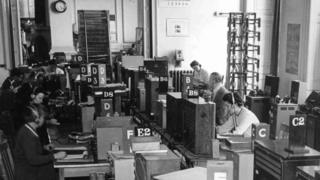 The main listening room at BBC Monitoring in 1945