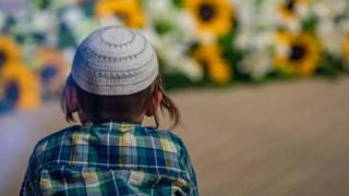 Boy wearing a Jewish skullcap, or kippa