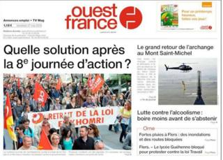 "France's top-selling daily Ouest-France asks ""what is the answer, after eight days of protests?"" - 27 May 2016"