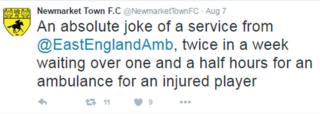 Tweet by Newmarket Town FC