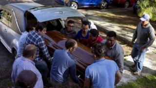 Relatives of Ocampo municipality Mayor and candidate Fernando Angeles for the Democratic Revolutionary Party (PRD) carry the coffin during his funeral in Ocampo, Michoacán State, Mexico on June 21, 2018.