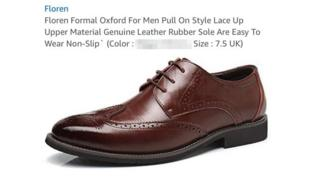 "A brown formal shoe on a white background is seen with floating text above it - describing the shoe in detail, until the heading for ""color"" - which has been blurred out by the BBC in this image"
