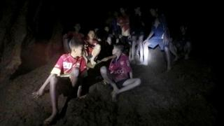 A still of the Thai boys found in the cave