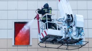 Тушение пожара в Кемерове