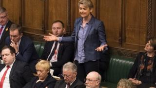 Labour's Yvette Cooper speaking in Parliament on Monday