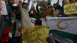 протестующие в Кашмире