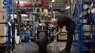 Triumph motorcycle factory floor