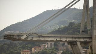 Remains of the Morandi bridge in Genoa (file pic)