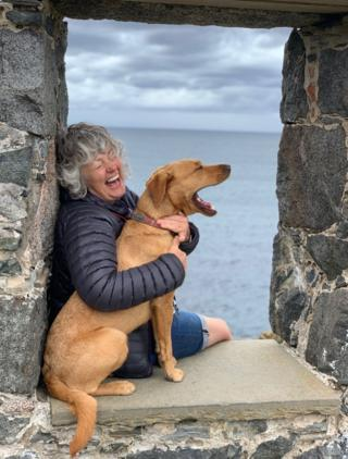 Gill and Ginny at Portsoy harbour