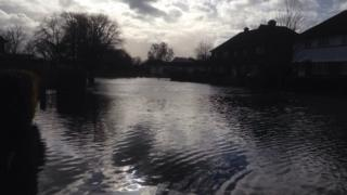 Flooding in Langton Way, Staines-upon-Thames, in February 2014