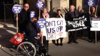 Bus cuts protest outside Taunton Crown Court on 18 November 2015