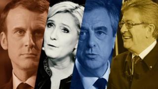 Emmanuel Macron, Marine Le Pen, François Fillon y Jean-Luc Mélénchon