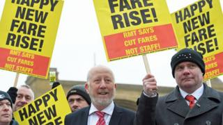 Shadow Transport Secretary Andy McDonald at rail fare increase protest