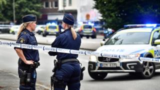 Swedish police responding to a crime in Malmo (file pic)