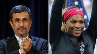 سرنا ویلیامز قهرمان تنیس و محمود احمدینژاد رئیسجمهور سابق ایران