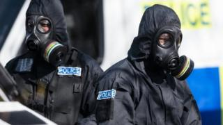Police officers in protective suits in Salisbury in March 2017